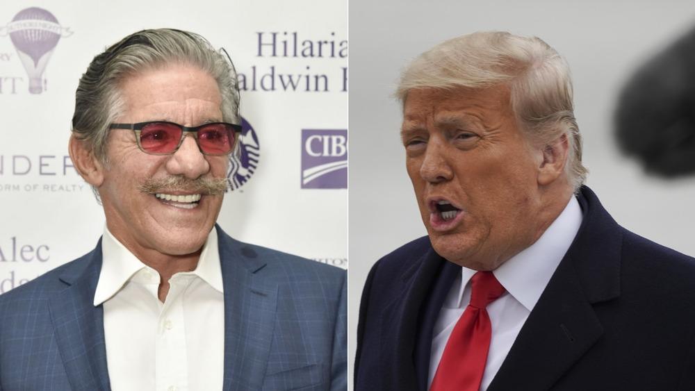 Pantalla dividida de Geraldo Rivera y Donald Trump