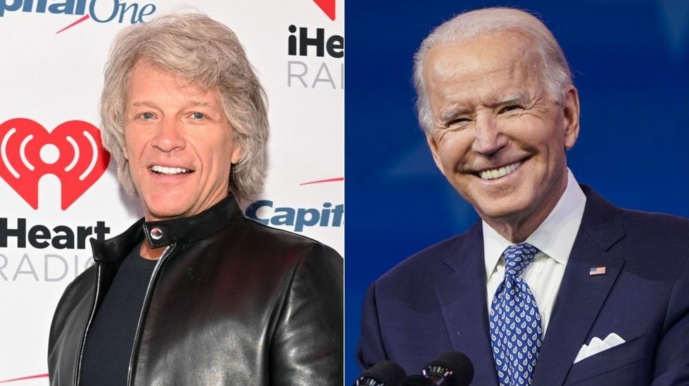 Joe Biden y Jon Bon Jovi sonriendo en una imagen dividida