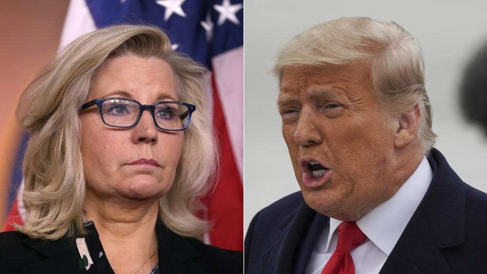 Imagen dividida de Liz Cheney y Donald Trump