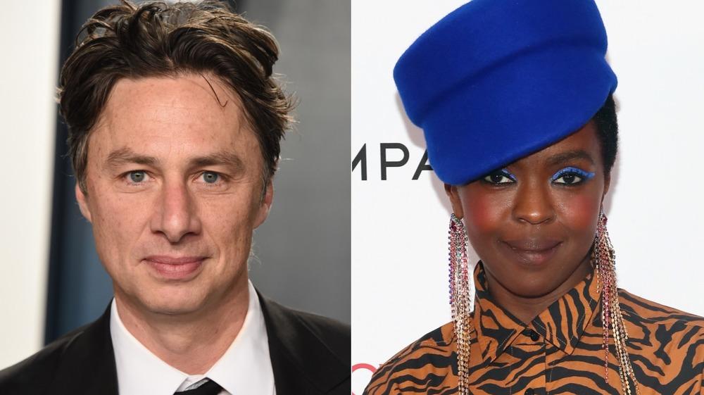 Zach Braff y Lauryn Hill posando en la alfombra roja