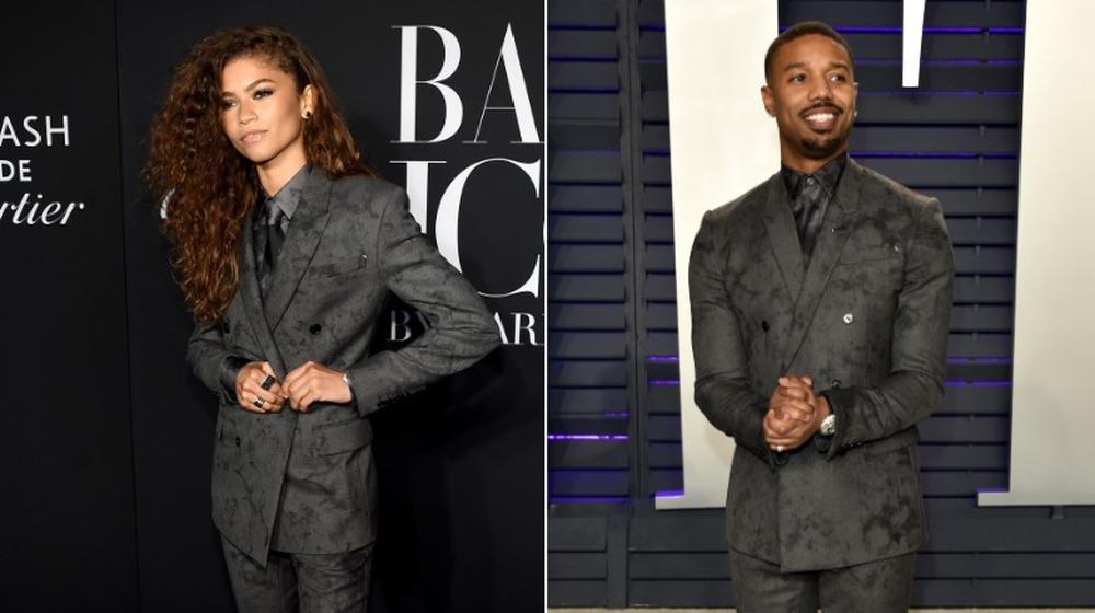 Zendaya (izquierda) y Michael B. Jordan (derecha) en el mismo traje