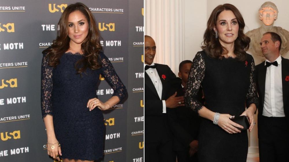 Meghan Markle (izquierda) y Kate Middleton con vestidos a juego