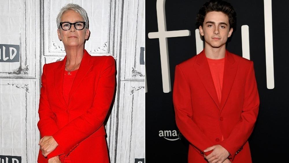 Jamie Lee Curtis (izquierda) y Timothee Chalamet (derecha) vistiendo trajes rojos casi idénticos