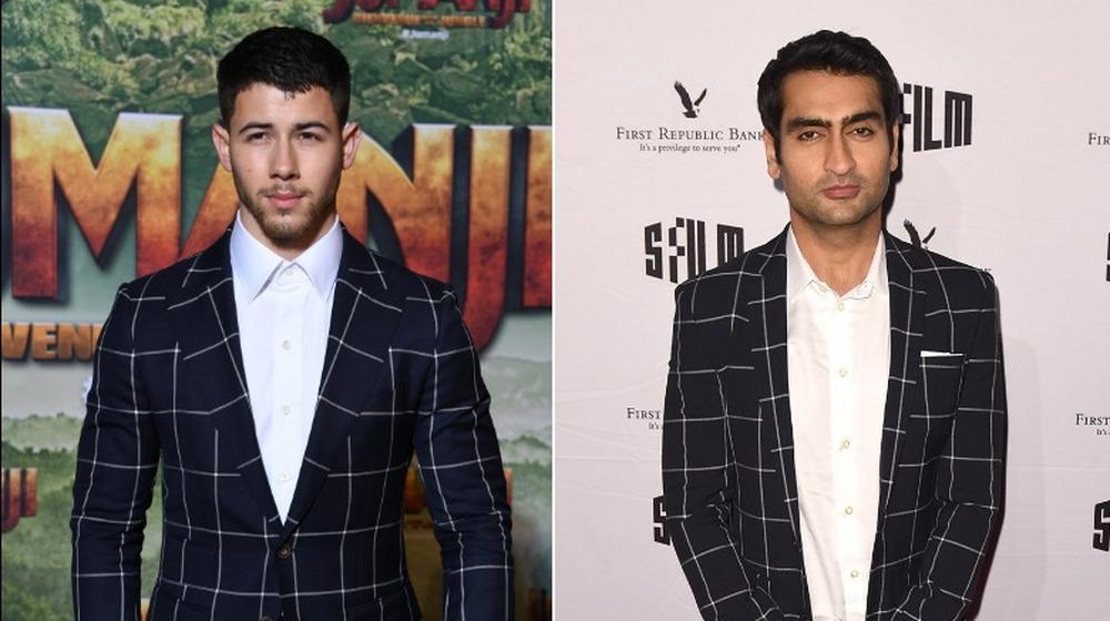 Nick Jonas (izquierda) y Kumail Nanjiani (derecha) en el mismo traje