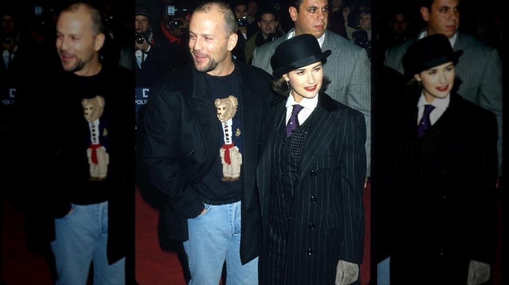 Bruce Willis y Demi Moore en la proyección de una película