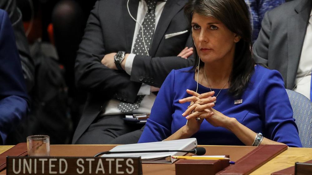 Nikki Haley en una conferencia de seguridad de la ONU en abril de 2018