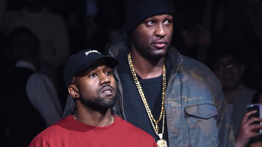 Kanye West y Lamar Odom en el desfile de moda Yeezy