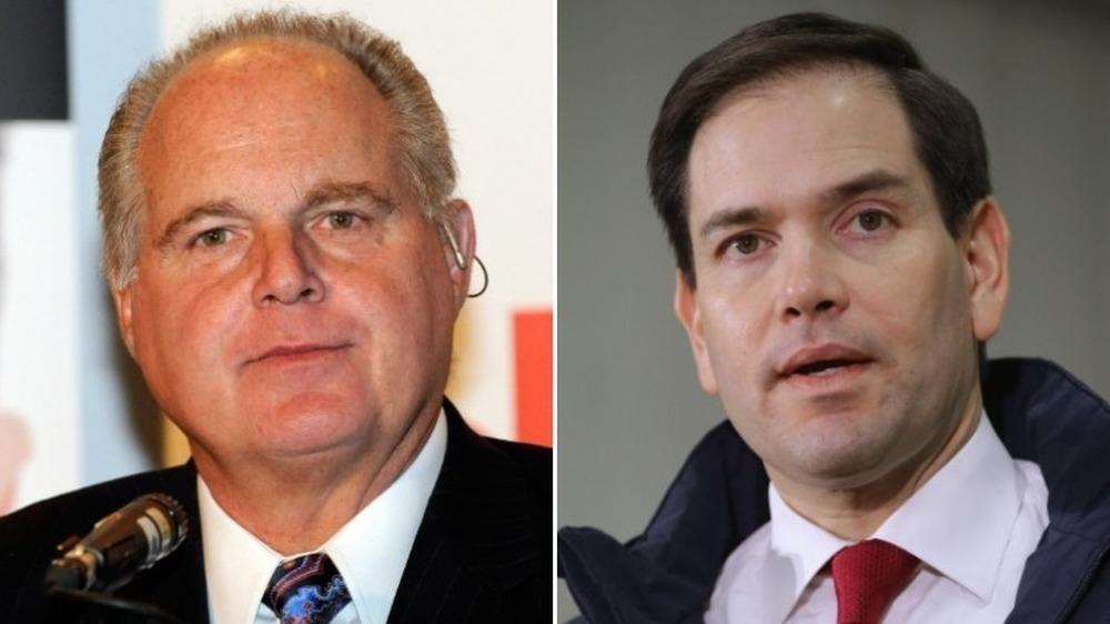 Rush Limbaugh sonriendo (izquierda), Marco Rubio hablando (derecha)