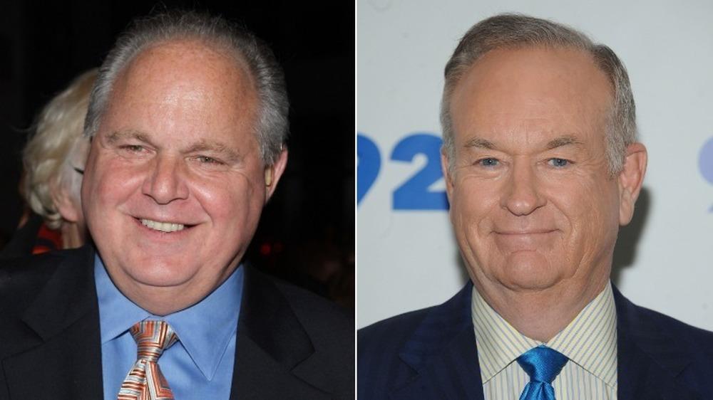Rush Limbaugh sonriendo (izquierda), Bill O'Reilly sonriendo (derecha)