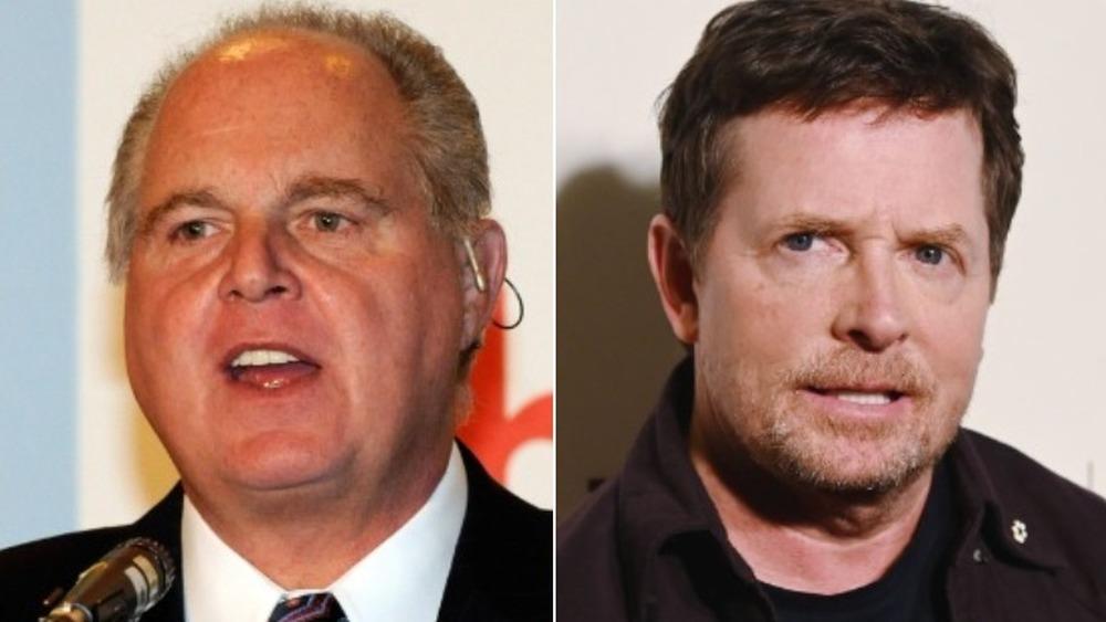 Rush Limbaugh hablando (izquierda), Michael J. Fox mirando severo (derecha)