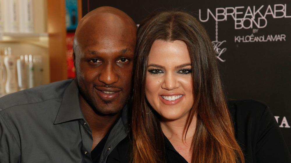 Lamar Odom y Khloe Kardashian en un evento