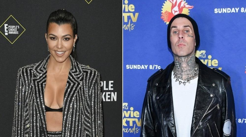 Kourtney Kardashian y Travis Barker posan en imagen dividida