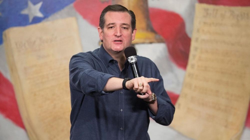 El senador Ted Cruz hablando en el mitin