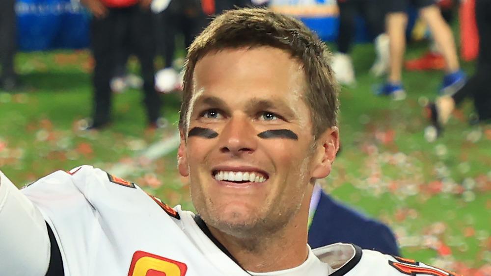 Tom Brady celebrando su victoria en el Super Bowl