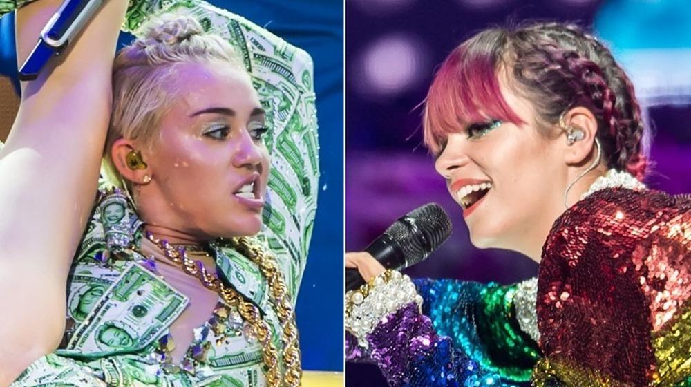 Miley Cyrus (izquierda) y Lily Allen (derecha) actuando en la gira de Bangerz