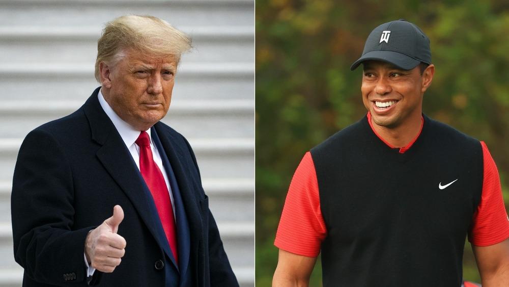 Donald Trump posa y Tiger Woods sonríe