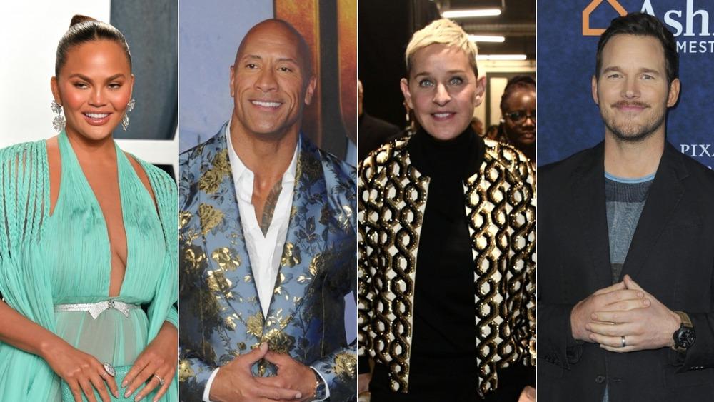 Chrissy Teigen, La Roca, Ellen DeGeneres, Chris Pratt