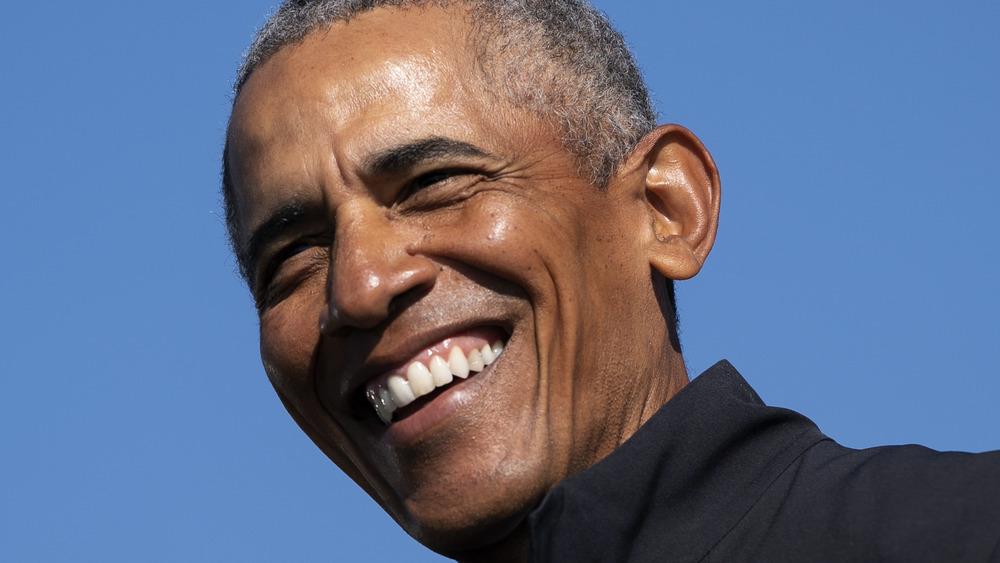 Barack Obama hablando en un evento de campaña