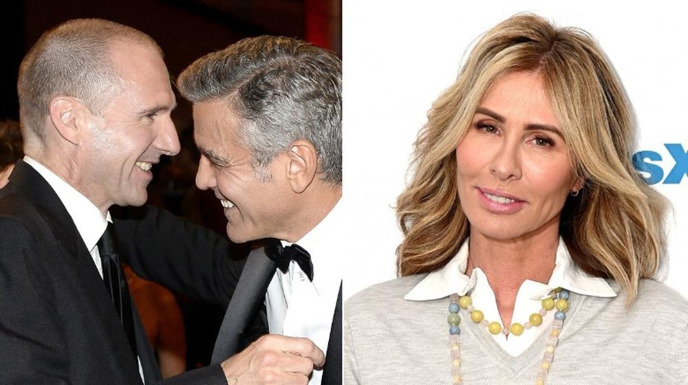 George Clooney y Ralph Fiennes riendo;  Carole Radziwill sonriendo
