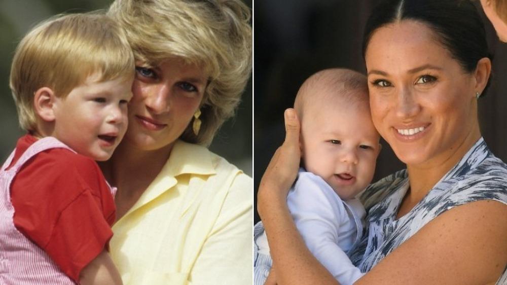 La princesa Diana y Meghan Markle sosteniendo a sus hijos pequeños