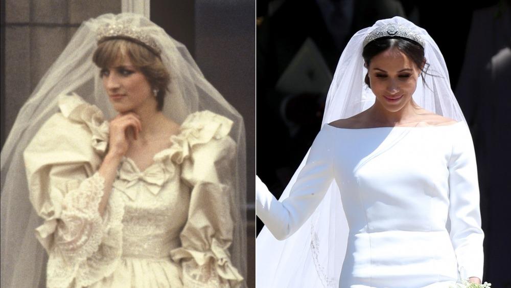 La princesa Diana y Meghan Markle en sus bodas reales