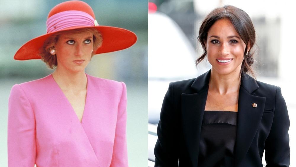 La princesa Diana se ve molesta (izquierda), Meghan Markle se ve incómoda (derecha)