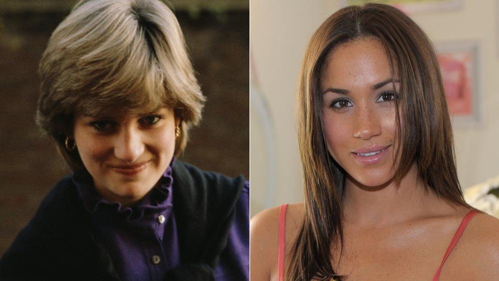 La princesa Diana sonriendo (izquierda), una joven Meghan Markle sonriendo (derecha)
