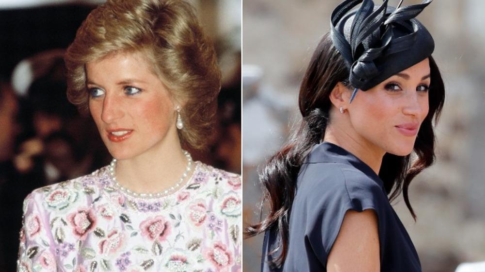 Princesa Diana sonriendo (izquierda), Meghan Markle sonriendo (derecha)