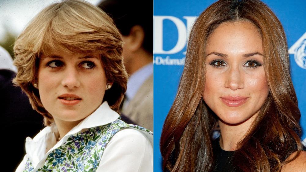 Princesa Diana mirando hacia un lado (izquierda), Meghan Markle sonriendo (derecha)