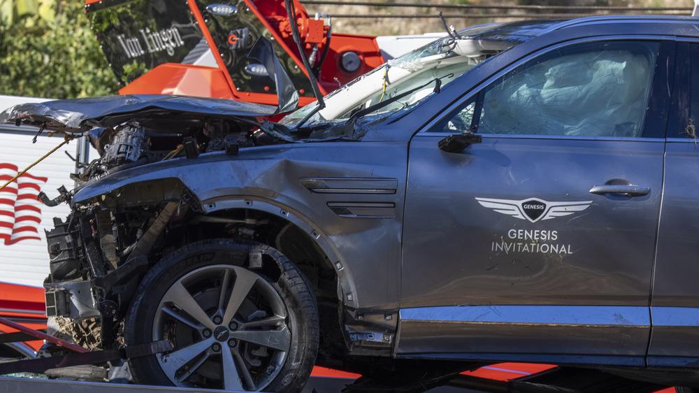 El coche accidentado de Tiger Woods