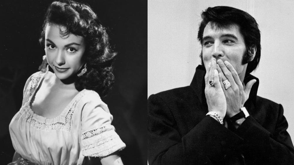 Rita Moreno posando para una foto en los años 60 (izquierda), Elvis tapándose la boca con las manos (derecha)