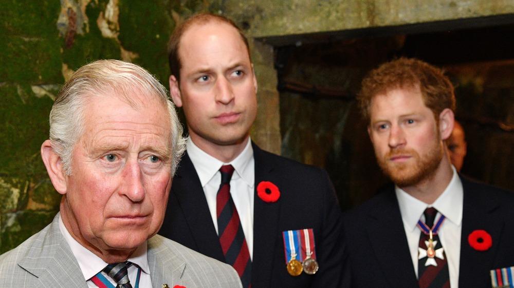 El príncipe Carlos, el príncipe William y el príncipe Harry posan en el interior.
