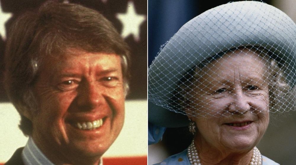 Jimmy Carter sonriendo, Reina Madre sonriendo