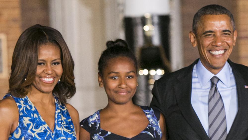 Michelle Obama, Sasha Obama y Barack Obama juntos