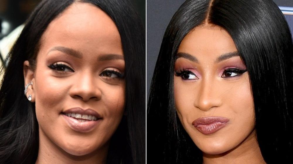 Rihanna sonriendo, Cardi B sonriendo