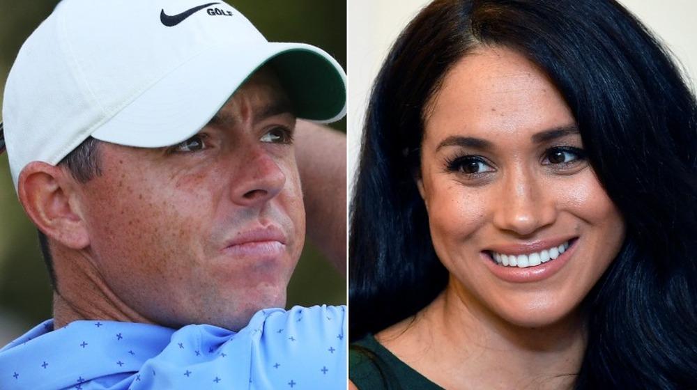 Rory McIlroy jugando al golf, Meghan Markle sonriendo