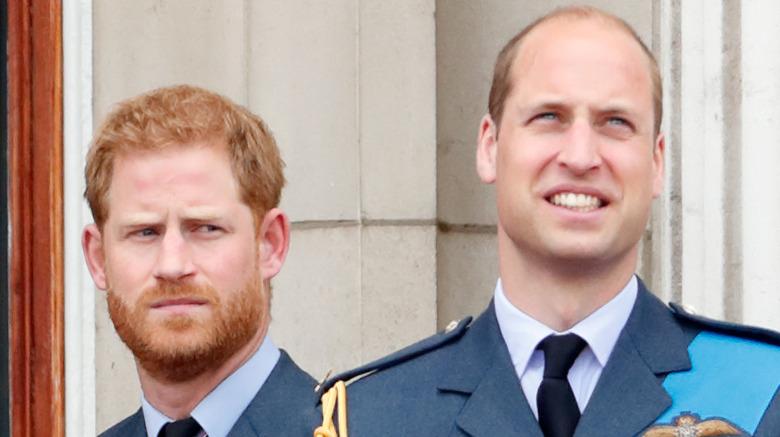 El príncipe Harry se ve serio y el príncipe William sonriendo