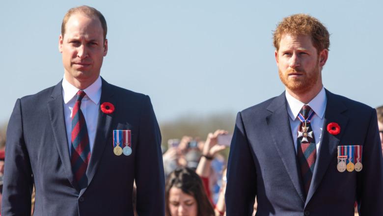El príncipe William y el príncipe Harry mirando con expresiones serias.