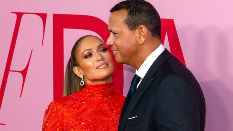 Jennifer Lopex y Alex Rodríguez en una alfombra roja