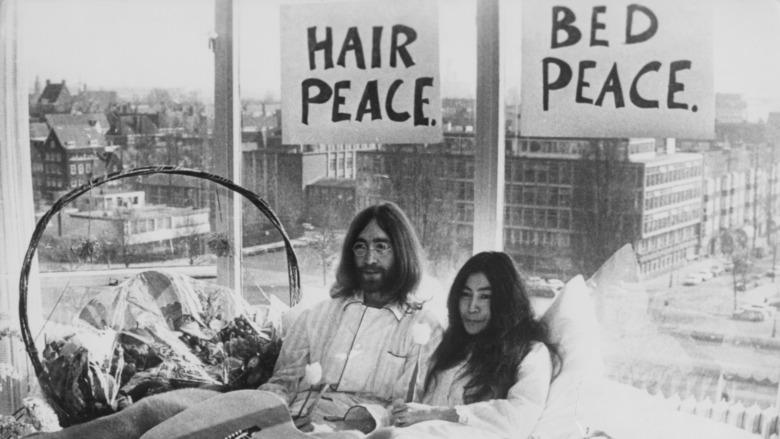 John Lennon y Yoko Ono en Amsterdam