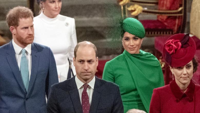 El príncipe Harry, el príncipe William, Meghan Markle y Kate Middleton lucen tensos