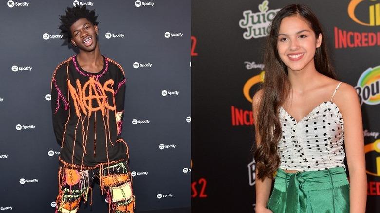Lil Nas X sonriendo con una camisa gráfica junto a una imagen de Olivia Rodrigo sonriendo con un top de lunares y una falda verde