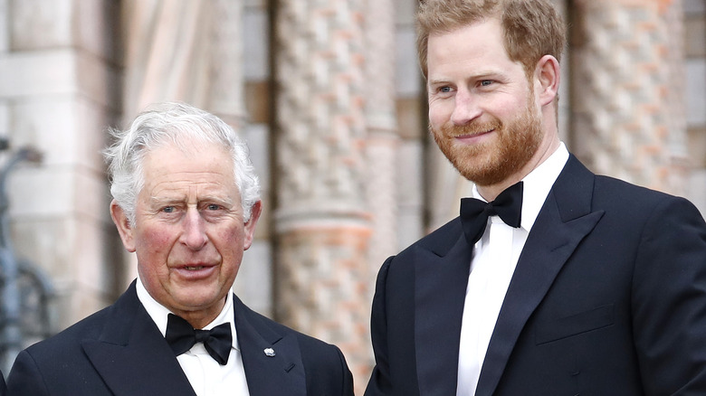 El príncipe Carlos y el príncipe Harry fotografiados en un evento real