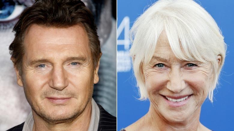 Liam Neeson y Helen Mirren sonriendo en los eventos
