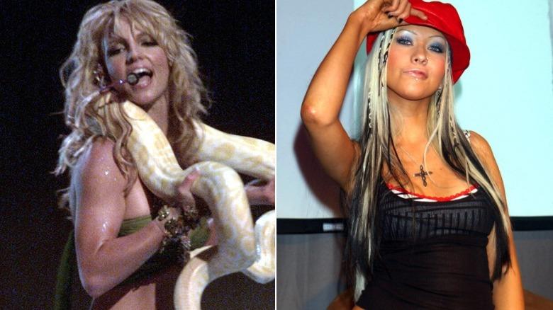 Britney Spears cantando con serpiente, Christina Aguilera posando con sombrero rojo