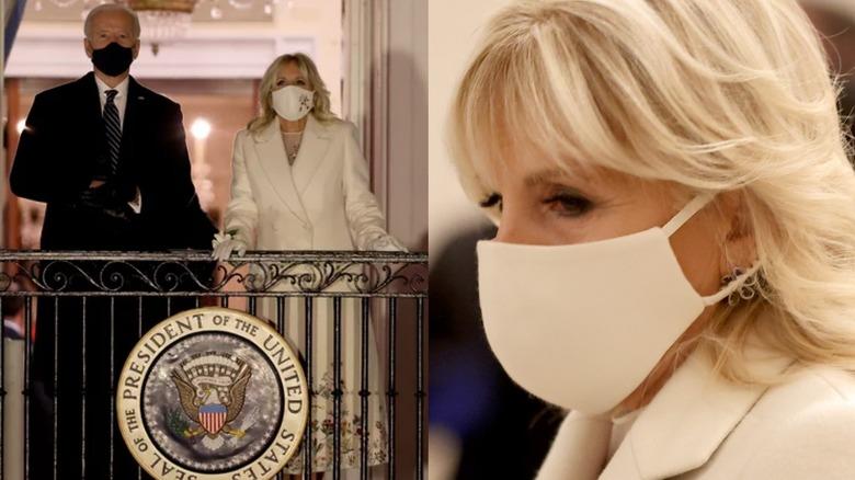 El presidente y la Dra. Jill Biden en el balcón (izquierda), la Dra. Jill Biden con mascarilla (derecha)