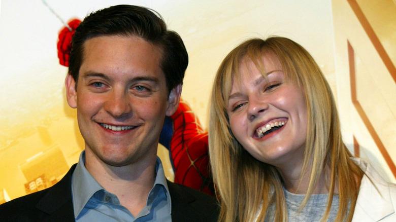 Tobey Maguire y Kirsten Dunst promocionando Spider-Man