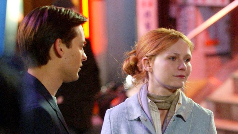 Tobey Maguire y Kirsten Dunst filmando Spider-Man