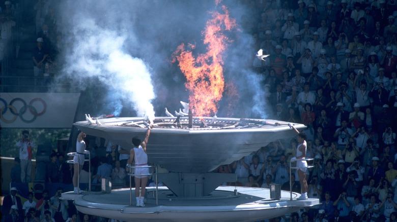 Se enciende la llama de los Juegos Olímpicos de 1988