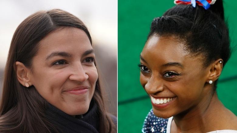 Alexandria Ocasio-Cortez y Simone Biles sonriendo